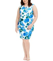 calvin klein plus size floral-print sheath dress