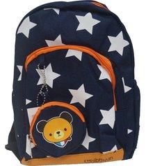 mochila infantil real arte estrela azul marinho