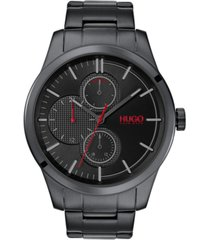 hugo men's #discover black stainless steel bracelet watch 46mm