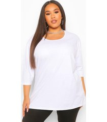 plus basic oversized t-shirt met langere achter zoom en driekwarts mouwen, white