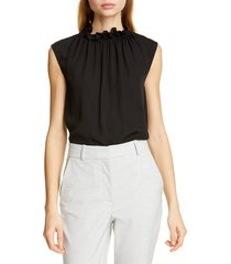 women's tailored by rebecca taylor ruffle neck silk georgette top
