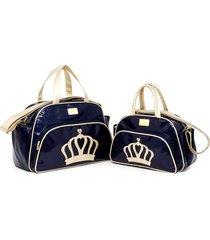 kit 2 peças, bolsa média e bolsa pequena bebe viagem passeio baby nut azul - tricae