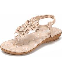 donna sandali bassi in stile bohemia floreale d'infradito con elasticità
