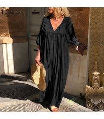 zanzea vestido largo con cuello en v de manga larga para mujer vestidos largos sueltos casuales kaftan -negro