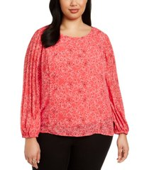 alfani plus size printed pleated-sleeve top, created for macy's