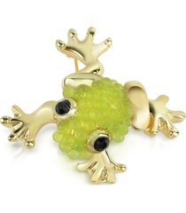 az collection designer brooches & pins, light green frog brooch