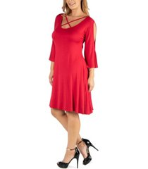 24seven comfort apparel plus size knee length cold shoulder dress