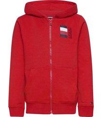 global stripe hooded zipthru hoodie trui rood tommy hilfiger