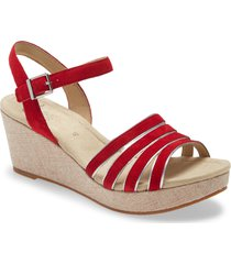 ara rita wedge sandal, size 8.5us in red leather at nordstrom