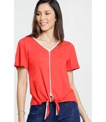 blusa feminina tiras amarração manga curta