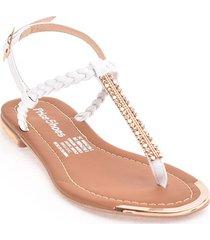 priceshoes sandalia plana dama 482tresteblanco