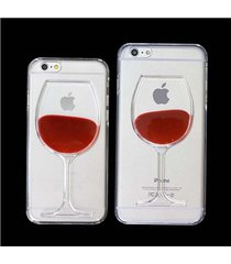 hot sale red wine cup liquid transparent case for iphone 6 6 plus 5 5s 4 4s