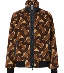 burberry monogram fleece jacquard jacket - brown