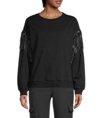 lea & viola women's leather fringe sweater - black - size m