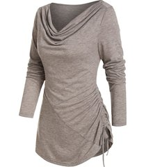 cowl neck cinched hem asymmetrical t shirt