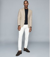 reiss bamboo - brushed wool single breasted blazer in stone, mens, size 46