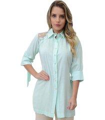 camisa mamorena recorte renda tule verde - kanui