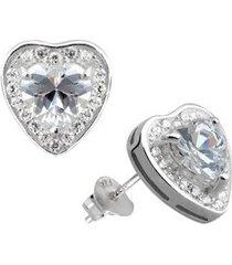brinco de prata coração com pedra