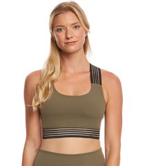 beyond yoga women's sheer illusion bralette - aviator green x-small spandex