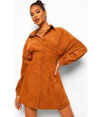 corduroy cinch blouse jurk met veterrug, tan