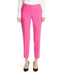 boss tiluna slim stretch wool ankle pants, size 10 in magenta at nordstrom