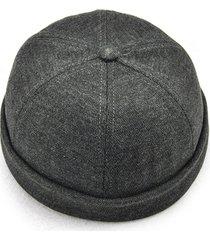 uomo retro zucchetto con tesa ripiegata berretto francese senza tesa alla moda