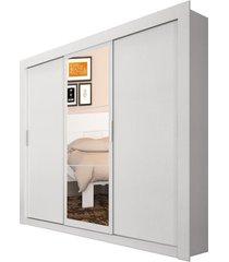 guarda-roupa casal édez ph1681, 1,97 m, 3 portas de correr, espelho, touch branco