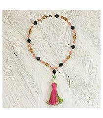 cotton and recycled plastic pendant necklace, 'caretaker' (ghana)