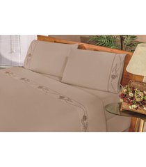 jogo de cama bia enxovais lençol solteiro imperial 03 peças cáqui