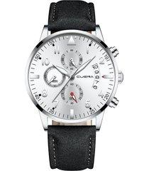 reloj ultradelgado hombre lujo cuero cuena 1208 plateado negro