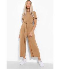 luipaardprint culotte jumpsuit met contrasterende zoom, camel