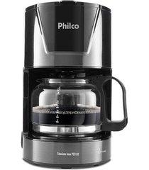 cafeteira elétrica com porta filtro philco titanium inox preta 18 xícaras - 127v
