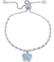 cubic zirconia simulated opal butterfly adjustable bolo bracelet in fine silver plated