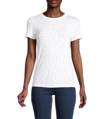 centro women's star-print t-shirt - navy white - size xxl