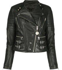 diesel quilted buckled strap biker jacket - black