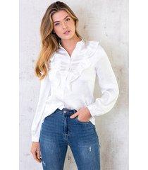 zijden ruches blouse wit