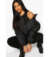 cropped puffer jacket, black