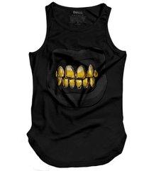 regata skull clothing dente dourado preto