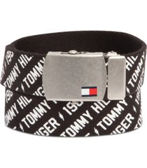 tommy hilfiger big boys casual printed web belt with military-inspired plaque buckle