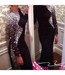black evening dress with long sleeve sheer beads prom dress,party/formal gowns