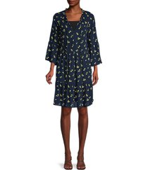 sperry women's floral a-line tiered dress - blue multicolor - size xl