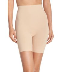 women's commando 'control' high waist shaping shorts, size large - beige
