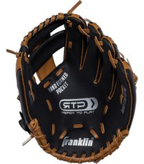 """franklin sports 9.5"""" black/tan pvc left handed thrower baseball glove with ball"""