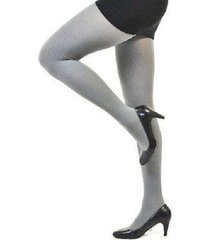 hue tights sz 3 solid filament grey classic rib control top nylon tight u11924