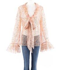 rodarte pink mirrored sequin ruffle tie neck blouse beige/pink sz: l