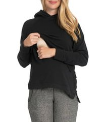 women's bun maternity asymmetric maternity/nursing hoodie