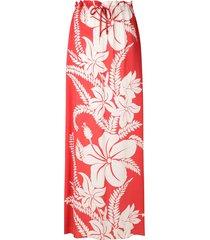 amir slama floral-print maxi skirt - pink