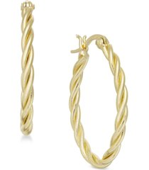 essentials small gold plated twisted small hoop earrings s