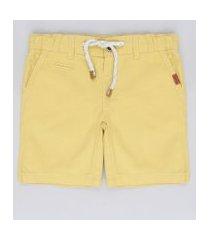 bermuda de sarja infantil com bolso e cordão amarela