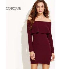 vestido sheinside off shoulder color vino
